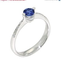 SOLO Diamond  Sapphire Engagement  Ring, Solitaire Ring, White Gold,  Italian Fine Jewelry