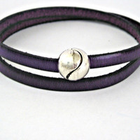 Purple double wrapped leather bracelet with by TyssHandmadeJewelry