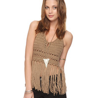 Fringe Knit Halter Top