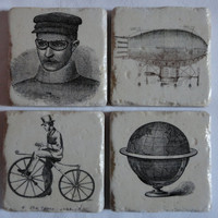 Stone Tile Coaster Set with a Steampunk by DontThreadOnMeShop