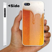 "Alcohol Themed ""Cold Beer with Foamy Head"" Design - White Protective iPhone 5 Hard Case"