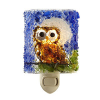 RECYCLED GLASS NIGHT OWL NIGHTLIGHT | Handmade, Post consumer Glass, Vawn and Mike Gray, Uncommon Goods | UncommonGoods
