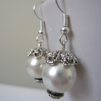 Pearl Ball Dangle Earrings, Ivory Earrings