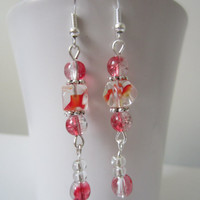 Red Crackle Glass Bead Dangle Earrings