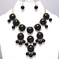Famous Chunky Bib Necklace Earrings Bubble Black Acrylic Gold Statement Jewelry