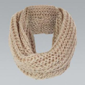 Cream Cable Knit Circle Scarf with Sequin Detail