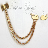 Adorable Whale Matte Gold Ear Cuff Earrings