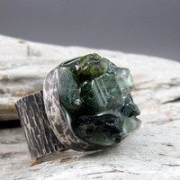 Tourmaline Raw Crystal Ring by ElementalAlchemist on Etsy