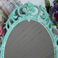 Large Vintage French Oval Wall Mirror Shabby Aqua Hollywood Regency