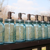 The perfect Christmas gift... - Blue Quart Jar Lotion Bottle/soap dispenser - Mason Jar