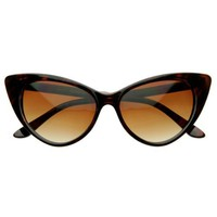 Super Cateyes Vintage Inspired Fashion Mod Chic High Pointed Cat-Eye Sunglasses (With Free Microfiber Pouch)