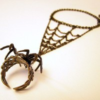 Gothic Steampunk BLACK SPIDER RING with Webbing by chinookhugs