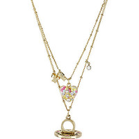 BetseyJohnson.com - CANDY RING 2 ROW NECKLACE FUCHSIA