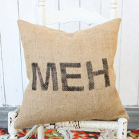 MEH Burlap & Chevron 18 Hand Painted Pillow by MySwallowsNest