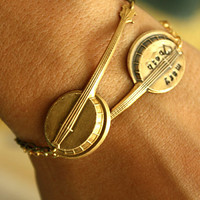 2 GOLD Personalized Banjo BRACELETS