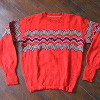 Rare Vintage Atomic 1940s 1950s Cable Knit Sweater pullover VLV M L