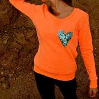 The &quot;Dazzle Pocket&quot; Sweatshirt -  Orange w/Sequin Heart Chest Pocket
