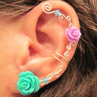 Non Pierced Ear Cuff  &quot;Roses are Colorful&quot; Cartilage Conch Cuff Silver tone Prom WHITE Roses are on Back Order