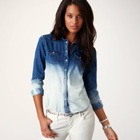 AE Ombre Denim Western Shirt | American Eagle Outfitters