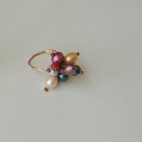 Jewelry. Ring. Wired ring. Colorful ring number  6 1/2. Mom gift. Under 10 dollars gift. Freshwater pearls ring. Wrapped ring. Wired ring.