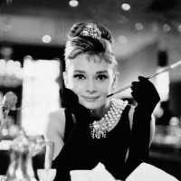 Amazon.com: Audrey Hepburn Movie (Breakfast at Tiffany's, With Cigarette) Poster Print - 24x36: Home & Kitchen