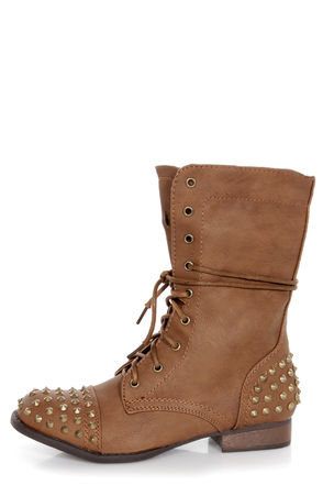 Bamboo Rascal 01 Chestnut Brown Studded Lace-Up Combat Boots