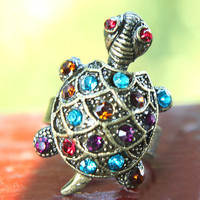 $3.99 Vintage Brass Tone Rhinestone Studded Turtle Animal Ring at Online Cheap Vintage Jewelry Store Gofavor