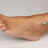Rose gold anklet, Turquoise anklet, gold ankle bracelet, rose bracelet, wedding, turquoise bracelet, bridal, best friend anklet, &quot;Aigle&quot;