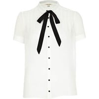 White contrast bow neck dolly blouse
