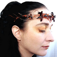 Copper crown with ivy leaves, Fall wedding, handmade