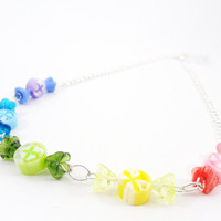 Christmas Candy Necklace Beaded Colorful by PeriwinkleParadise