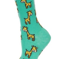 Aqua Giraffe Ankle Socks