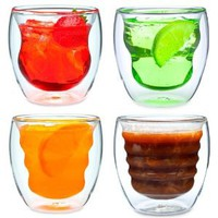 Amazon.com: Curva Artisan Series Double Wall Beverage Glasses and Tumblers - Unique 8 oz Thermo Insulated Drinking Glasses, Set of 4: Kitchen & Dining