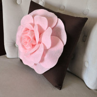 Pink Rose on Brown Pillow 14x14 Throw Pillow by bedbuggs on Etsy