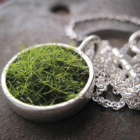 SALE Lush Green Grass Silver Round Necklace