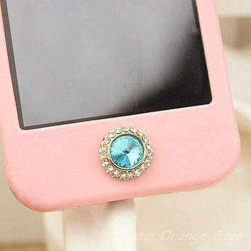 1PC Bling Paved Manmade Diamond Blue Apple iPhone Home Button Sticker for iPhone 4,4s,4g, iPhone 5, iPad, Cell Phone Charm