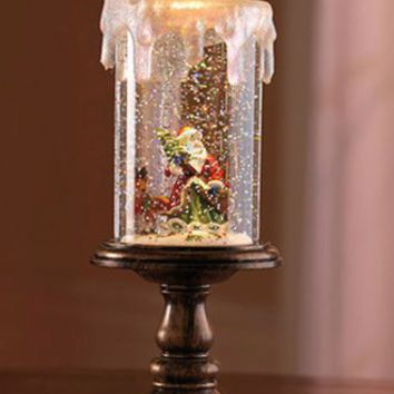 Lighted Santa Candle Snow Globe, Flameless LED Candle