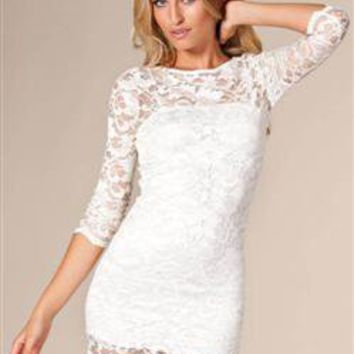 White / Cream Slash Neck Lace Bodycon Dress - £27.99 : Bodycon Boutique - Bodycon Dresses | Bodycon Dress | Bandage Dresses | Mini Dresses