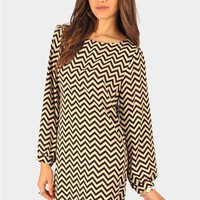 Catherine Zig Zag Dress - Black at Necessary Clothing