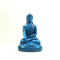 teal buddha statue, thai, home decor, upcycled figurines, zen, painted decor, buddhist, peacock blue, spiritual,serene