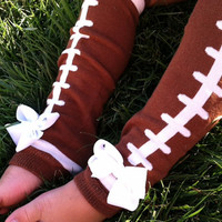FOOTBALL LEG WARMERS - You pick team colors - Football Bow - Baby Leg Warmers - Toddler leg warmers - Halloween costume - Fits girls 0-8