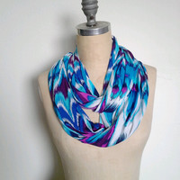The Infinity Scarf in Bright Blue Peacock Feather Print