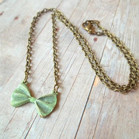 B O W - Mint Spring Green Bow Hand Painted Antique Bronze Pendant Necklace