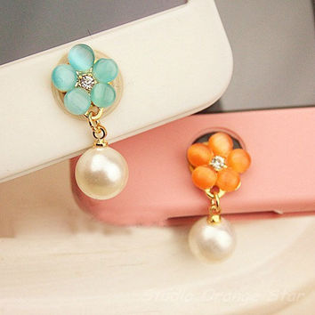 1PC Bling Flower w/Dangling Pearl Ball Apple iPhone Home Button Sticker for iPhone 4,4s,4g, iPhone 5, iPad, Cell Phone Charm, 2 Color Choice