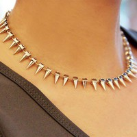 Vintage Rivet Rhinestone Choker Necklace