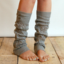 LouLou - light grey: Open-work Leg Warmers with Antique Silver Metal Buttons - legwarmers boot socks (item no.9-13)