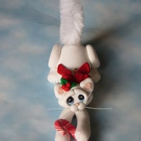 White Cat Christmas Ornament Personalized Sculptue Figurine