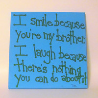 Brother Quote Canvas Art Gift for Brother 12x12 Canvas Quote Brother Gift
