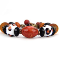 Bracelet Lampwork Autumn Orange Rust Black Gemstone Safari Black Safari: African Safari