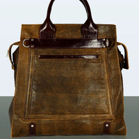 Leather Handbag - MIAETMOI Darcey Bag - Brown Distressed